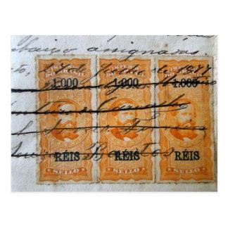 Stamp-themed postcard postkarte