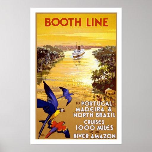 Stand-Linie Vintage Reise-Plakate Amazonas Brasili