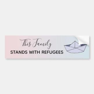 Stand mit Flüchtlinge Ombre rosa Familien-Boot u. Autoaufkleber