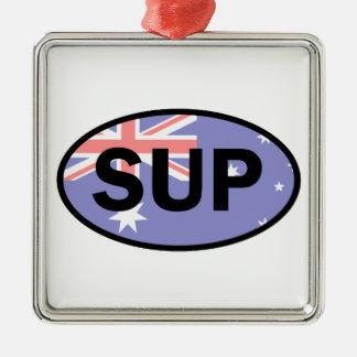 Standup Paddleboard Australien Flagge Quadratisches Silberfarbenes Ornament