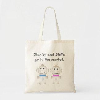 Stanley und Stella gehen zum Markt Leinentaschen