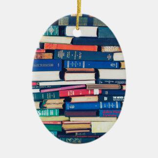 Stapel Bücher Ovales Keramik Ornament