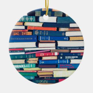 Stapel Bücher Rundes Keramik Ornament
