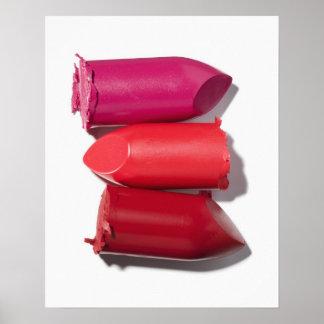 Stapel defekter Lippenstift Plakatdruck