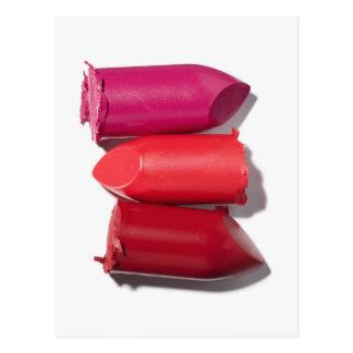 Stapel defekter Lippenstift Postkarte