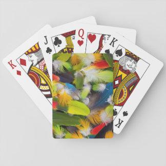 Stapel der bunten Federn Spielkarten