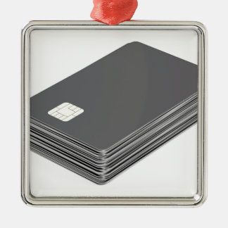Stapel mit leeren Plastikkarten mit Chip Silbernes Ornament