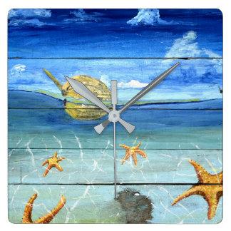 Starfish-Himmel-Quadrat-Wand-Uhr für Zuhause u. Quadratische Wanduhr