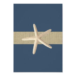 Starfish-Marine-blaue Streifen-Strand-Hochzeit 12,7 X 17,8 Cm Einladungskarte