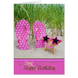 Starfish mit Flipflops für Geburtstag Karte