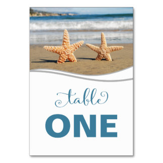 Starfish-Paar-Strand-Tischnummer-Karte Karte