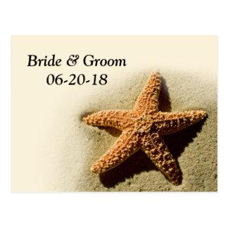 Starfish-Save the Date Strand-Thema-Hochzeit Postkarte