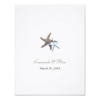 Starfish-Strand-Hochzeits-kleine Einladungen 10,8 X 14 Cm Einladungskarte