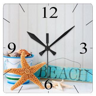 Starfish-Strand-tropischer Sommer Quadratische Wanduhr