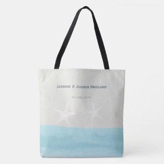 Starfish-Strandhochzeit Aquarell des Aqua blaue Tasche