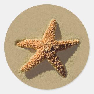 Starfish-tropischer Strand-Hochzeits-Umschlag Runder Aufkleber