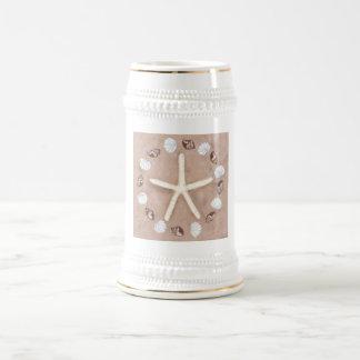 Starfish und Muscheln Pentagram Bierglas