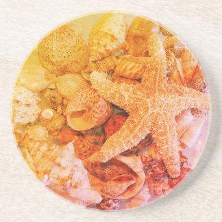 Starfish und Muscheln - Sandstein Untersetzer