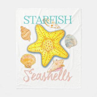 Starfish-und Seashells-Entwurf mit Wörtern Fleecedecke