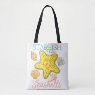 Starfish-und Seashells-Entwurf mit Wörtern Tasche