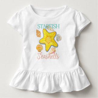 Starfish-und Seashells-Muster mit Wörtern Kleinkind T-shirt