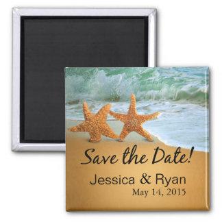 Starfish verbinden auf dem Strand Save the Date Quadratischer Magnet
