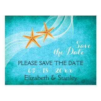 Starfishpaar-Strandhochzeit Save the Date Postkarte