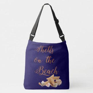 StarfishSeashells auf den Strand-tropischen Ferien Tragetaschen Mit Langen Trägern