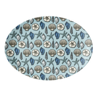 Starfishseashells-hübsches Seestrand-Muster Porzellan Servierplatte
