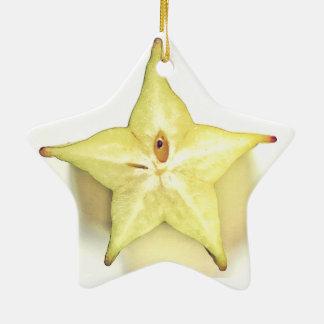 Starfruit Dble-Versah Stern-Verzierung mit Seiten Keramik Ornament