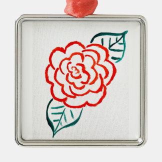 Stark vereinfachte Rose Silbernes Ornament