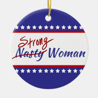 Starke eklige Frau mit US Flagge Keramik Ornament