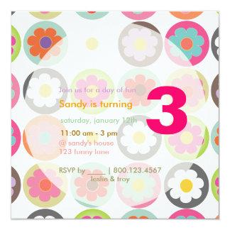 Starke Gänseblümchen/helle Sechziger B'day Quadratische 13,3 Cm Einladungskarte