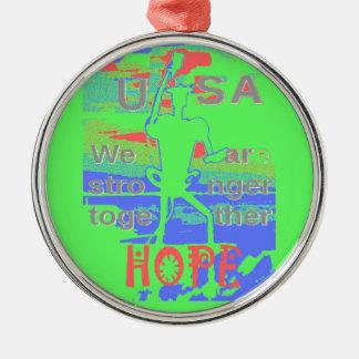 Starke Hoffnung ÖKO-USA Hillary sind wir stärkeres Rundes Silberfarbenes Ornament