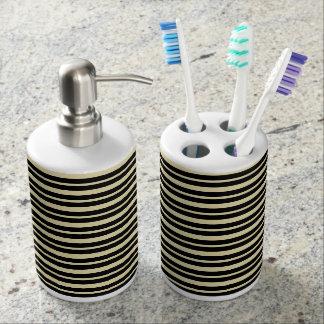 Starke und dünne beige und schwarze Streifen Seifenspender & Zahnbürstenhalter