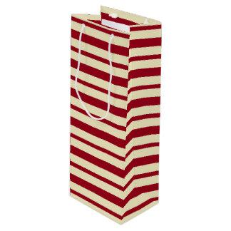 Starke und dünne Burgunder- und Creme-Streifen Geschenktüte Für Weinflaschen