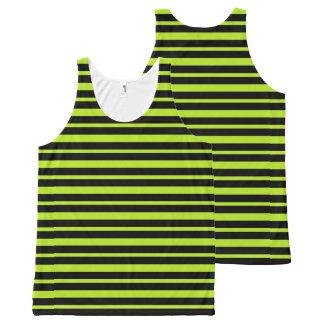Starke und dünne Limone grüne und schwarze Komplett Bedrucktes Tanktop