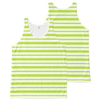 Starke und dünne Limone grüne und weiße Streifen Komplett Bedrucktes Tanktop
