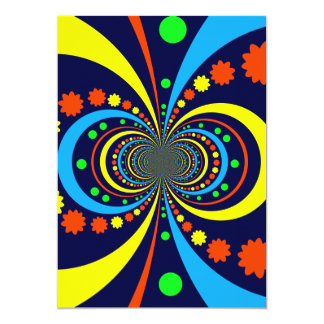 Starke Wanze mustert Stern-Streifen-blaue Orange 12,7 X 17,8 Cm Einladungskarte