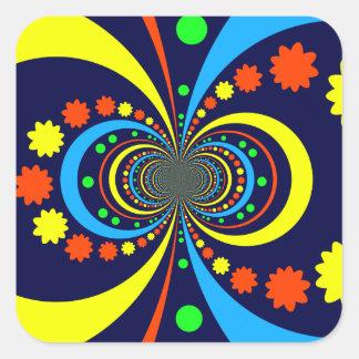 Starke Wanze mustert Stern-Streifen-blaue Orange Quadrat-Aufkleber