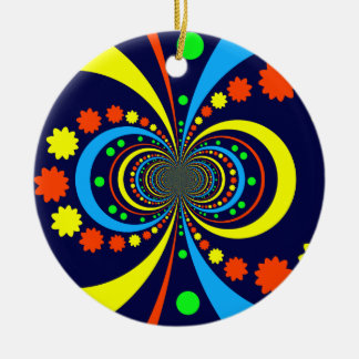 Starke Wanze mustert Stern-Streifen-blaue Orange Rundes Keramik Ornament
