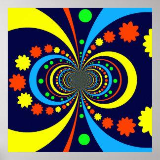 Starke Wanze mustert Stern-Streifen-blaue Orange Plakatdruck