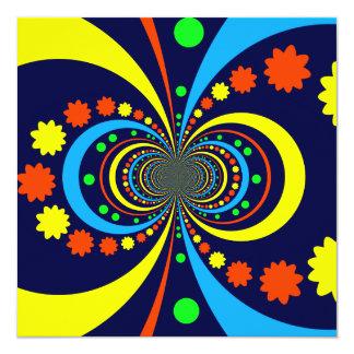 Starke Wanze mustert Stern-Streifen-blaue Orange Quadratische 13,3 Cm Einladungskarte