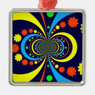 Starke Wanze mustert Stern-Streifen-blaue Orange Quadratisches Silberfarbenes Ornament