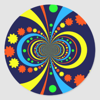 Starke Wanze mustert Stern-Streifen-blaue Orange Runder Aufkleber