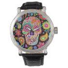 Starke Zuckerschädel-Uhr - Tag der toten Kunst Armbanduhr