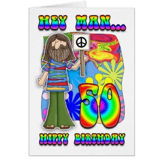 Starker 50. Geburtstag - Hippie-Geburtstag Grußkarte