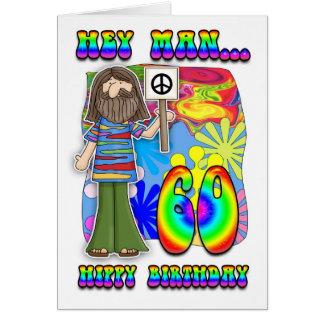 Starker 60. Geburtstag - Hippie-Geburtstag Karte