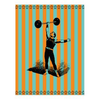 starker Mann mit Streifenschablone Postkarte