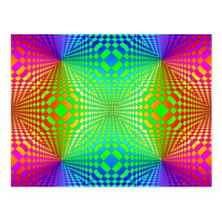 Starkes 3-D Retro Muster Postkarte